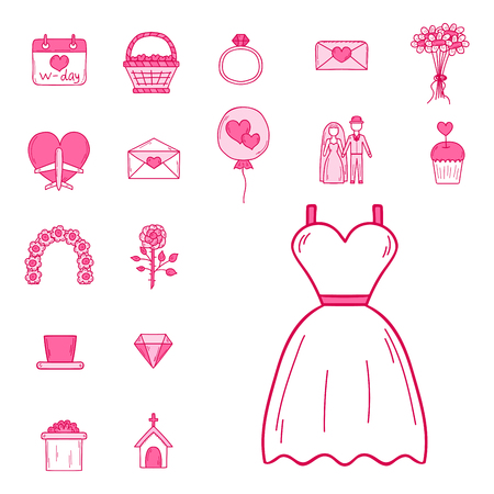 Wedding outline married engagement groom bride icons vector illustration. Illustration