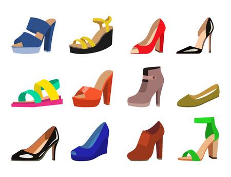 女性の靴ベクターフラットファッションデザインコレクションレザーカラーモカシンシューズサンダルイラスト