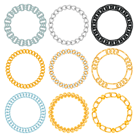 Chains link strength connection vector borders of metal linked parts frames and iron equipment protection strong sign shiny design background.