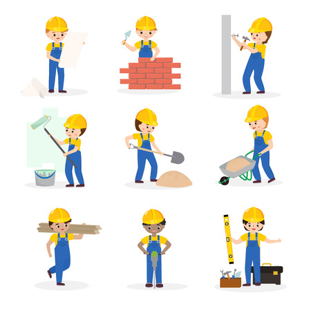 Builder vector cartoon character constructor building construction for newbuild illustration worker or contractor buildup constructively set isolated on white background Illustration