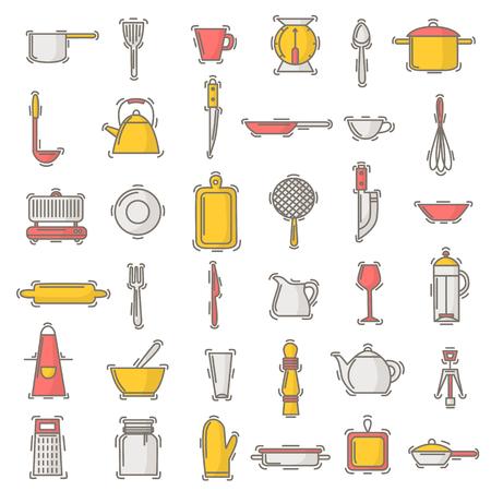Muster-Kochgeschirr des Küchengeschirrvektors nahtloses für das Kochen und Küchengeräte oder Tischbesteck für Kitchenerhintergrund-Illustrationsgeschirr in der Küchentapete lokalisiert auf weißem Hintergrund Standard-Bild - 95812960
