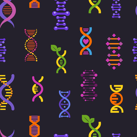 DNA seamless pattern vector genetic sign with genome or gene in biology medical research and DNAse or DNAbinding structure illustration backdrop on black background Illustration