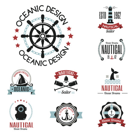 Sea marine vector nautical logo icons sailing themed label or with ship ribbons travel element graphic badges illustration.