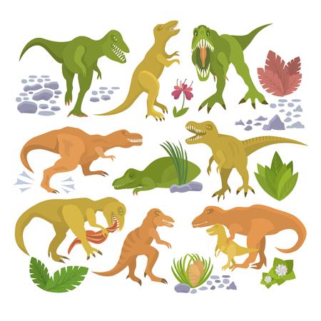 Dinosaur vector tyrannosaurus rex cartoon character dino and jurassic tyrannosaur attacking illustration set of ancient animal isolated on white background Illustration
