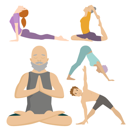 Yoga positions characters class meditation people concentration human peace lifestyle vector illustration. Illustration