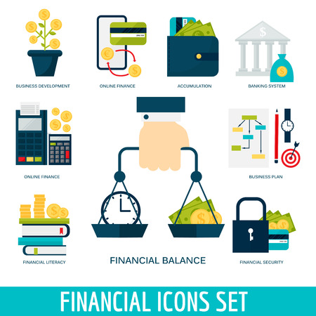 Banking money financial services set credit sign development online accumulation bank investment management finance vector illustration. Ilustração