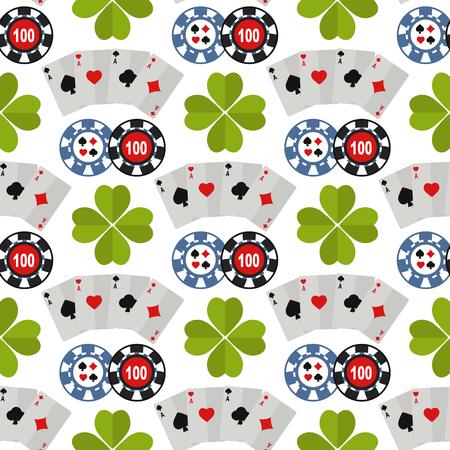 Casino roulette gambler joker slot machine poker game seamless pattern background vector illustration. Illustration