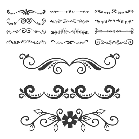Séparateur de texte décoratice diviseur livre typographie ornement éléments de conception vector illustration de formes de division vintage