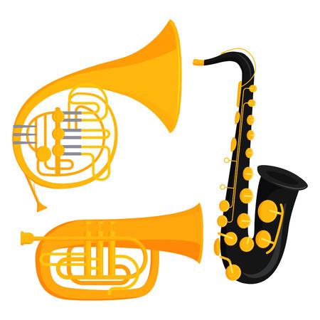 管楽器ツール アコースティックミュージシャン機器オーケストラ ベクトルイラスト  イラスト・ベクター素材