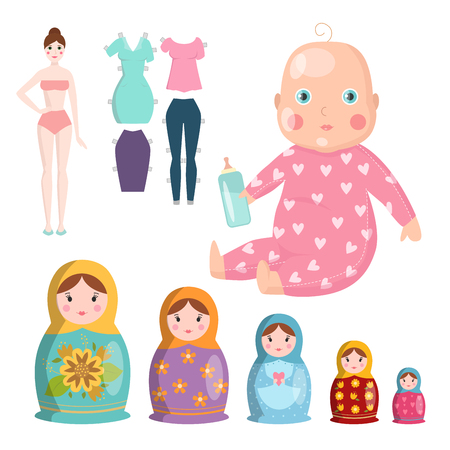 Dolls toy character game dress and farm scarecrow rag-doll vector illustration Vettoriali