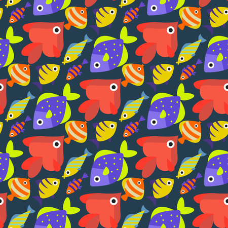Aquarium ocean fish underwater bowl tropical aquatic animals water nature pet characters seamless pattern background vector illustration
