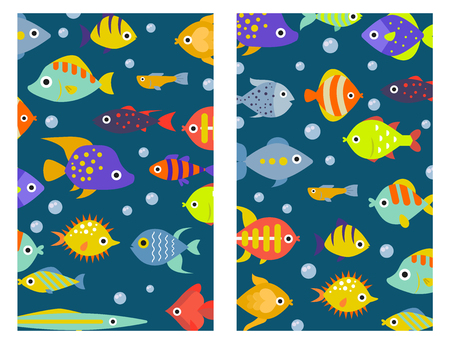 Aquarium ocean fish underwater cards bowl tropical aquatic animals water nature pet characters vector illustration