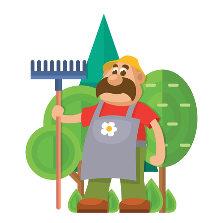 Garden equipment flat vector gardener character with rake illustration agriculture farming man with tools.
