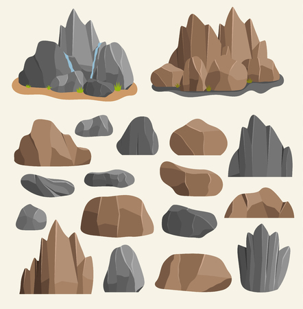 漫画スタイルの大きな建物の鉱物杭に石の岩。ボルダー天然岩や石花崗岩荒いイラスト岩や石自然巨石地質学灰色の漫画の材料