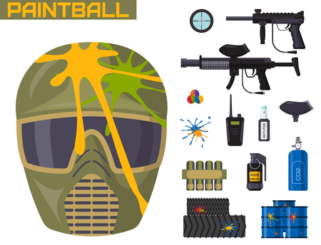 Paintball club icons protection uniform and sport game design elements equipment target vector illustration Illustration