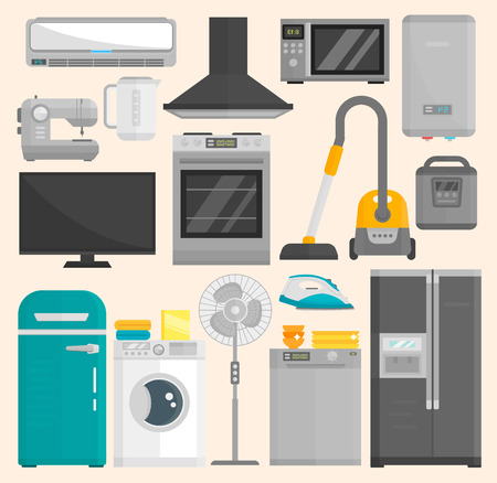 Group of home appliances isolated on white background. Kitchen equipment refrigerator home appliance domestic oven washing microwave electric home appliance cooking freezer tool