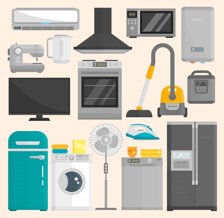 Gruppe Haushaltsgeräte lokalisiert auf weißem Hintergrund. Küchenausstattung Kühlschrank Haushaltsgerät Haushaltsofen Waschen Mikrowelle Elektrohaushaltsgerät Kochen Gefrierschrank Werkzeug Vektorgrafik