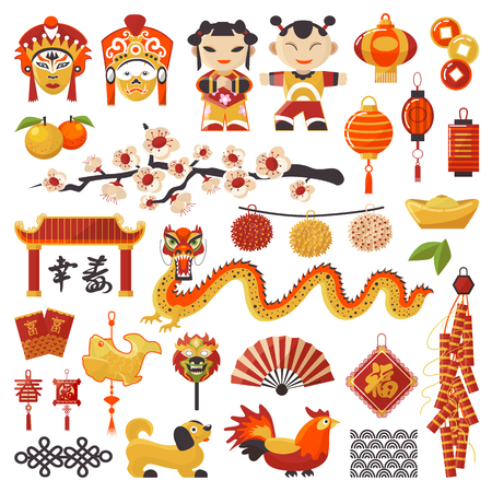 China New Year vector icons set decorative holiday. Chinese traditional symbols and objects dragon, dog, lighter and east tea, famous oriental culture chinese New Year celebration illustration.