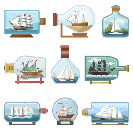 Vector ship in bottle boat in miniature sailboat souvenir in glass jar with cork shipping ouvenir in flask isolated on white background.