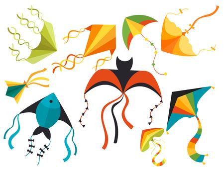 I bambini del drago del serpente del serpente dell'aquilone di volo giocano l'illustrazione all'aperto variopinta di vettore di attività dell'estate