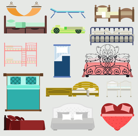 Exclusive sleeping beds vector furniture illustration design bedroom with aerial view. Sleeping furniture bed, interior, room view. Vector comfortable sleeping furniture home bed interior Stock Vector - 96034404