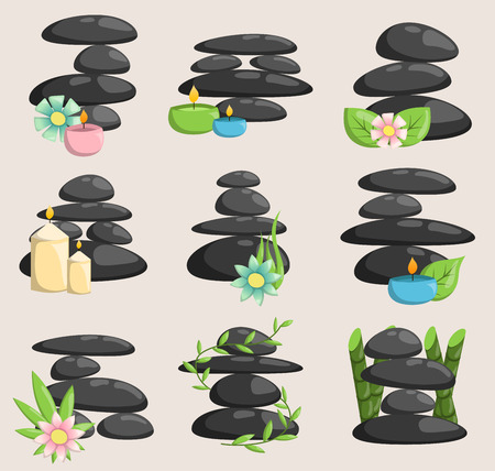 Spa stones isolated vector and relaxation isolated. Stones stack isolated pebble concept therapy, heap spa stones beauty tranquil relax. Фото со стока - 96034402
