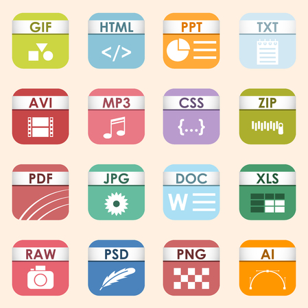 Vector square file types and formats labels icon set. File type format icons presentation document symbol. Audio extension icons graphic multimedia sign application software folder.