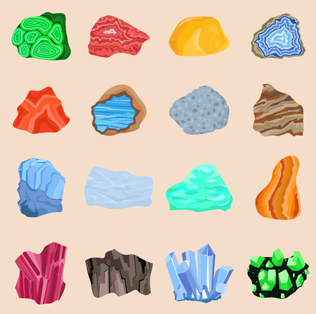 Collection set of semi precious gemstones stones and mineral stone isolated. Colorful shiny gemstone. Mineral jewelry material agate mineral geology nature crystal Illustration
