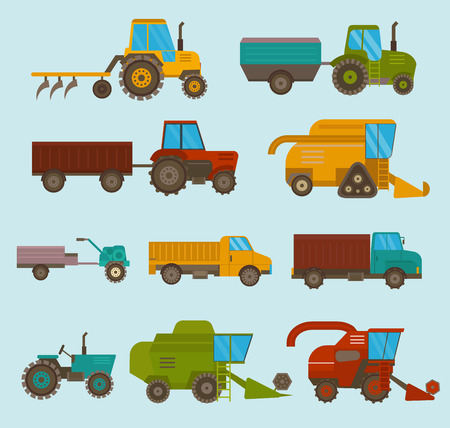 Different types vector agricultural vehicles and harvester machine, combines and excavators. Icon set agricultural harvester machine with accessories for plowing, mowing, planting and harvesting