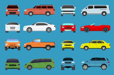 ●車種ベクトルモデル車両オブジェクトアイコンセット多色自動車スーパーカー。●ホイールシンボルカータイプクーペハッチバック。交通収集シ  イラスト・ベクター素材