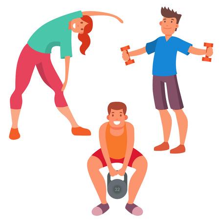 La gente della gente di forma fisica palestra di sport del club delle icone di vettore del carattere dell'atleta e strumenti dell'attrezzatura di benessere degli strumenti del corpo di attività di sport Archivio Fotografico - 96034603