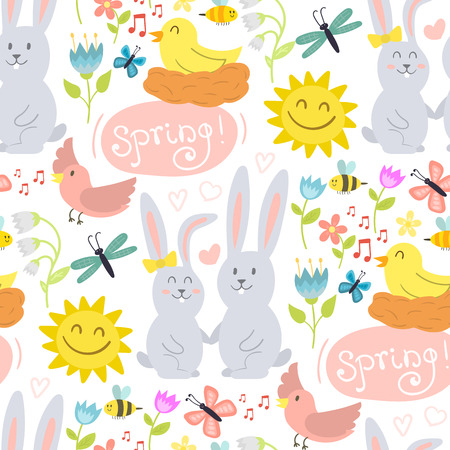 Spring background with rabbits, sun, birds, butterflies, flowers in flat style colorful vector illustration. Illustration