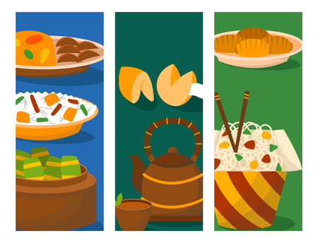 Chinese cuisine tradition food dish delicious asia dinner meal china lunch cooked vector illustration