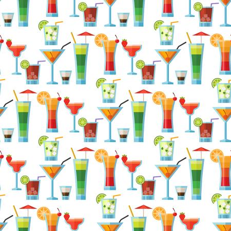 Cocktails alcoolisés seamless fond fruits froid boissons froides vecteur exotique exotique de l & # 39 ; alcool de la piscine . illustration vectorielle de tequila Banque d'images - 96075990