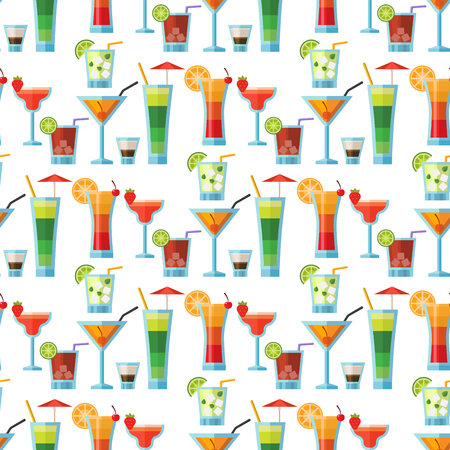 Alcoholic cocktails seamless pattern background fruit cold drinks tropical cosmopolitan freshness party alcohol sweet tequila vector illustration.