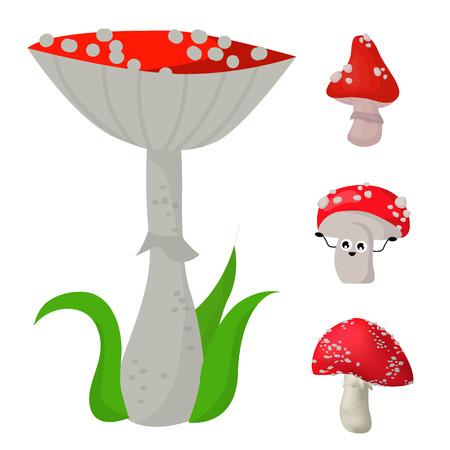ベクトルアマニタキノコ危険な設定有毒な季節有毒な真菌食品のイラスト。  イラスト・ベクター素材