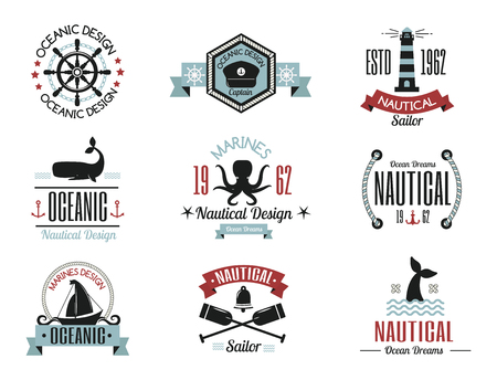 Fashion nautical logo sailing themed label or icon with ship sign ribbons travel element graphic badges vector illustration. Style cruise business insignia template.