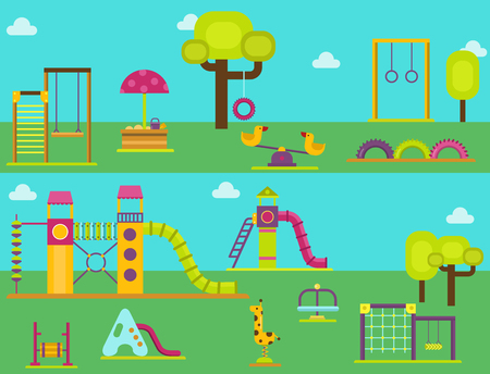 Children playground kindergarten amusement childhood play park activity place recreation swing equipment toy vector illustration. Фото со стока - 96076018