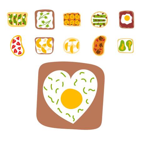朝食トーストセットスライストーストクラストサンドイッチバターフライドトースターフラット漫画スタイルのパンとバターベクターイラスト。