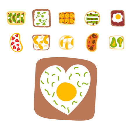 Breakfast toast set slices toasted crust sandwich with butter fried toaster flat cartoon style bread and butter vector illustration. Çizim