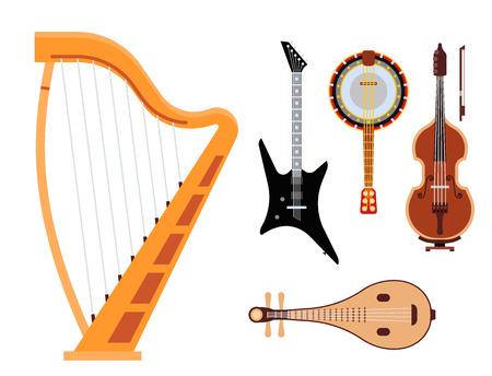 弦楽器クラシックオーケストラアートサウンドツールとアコースティックシンフォニードフィドル木製機器ベクトルイラストのセット  イラスト・ベクター素材