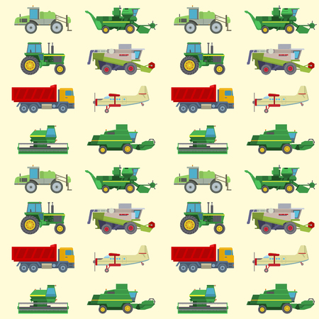 Agriculture harvest machine vector industrial farm equipment tractors transport combines and machinery excavator seamless pattern background illustration. Stock Illustratie