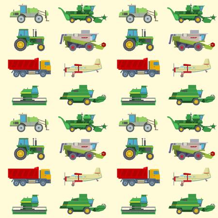 Rolnictwo do zbioru maszyny wektor przemysłowy sprzęt rolniczy ciągniki transportowe kombajny i maszyny koparka wzór tła ilustracji. Ilustracje wektorowe