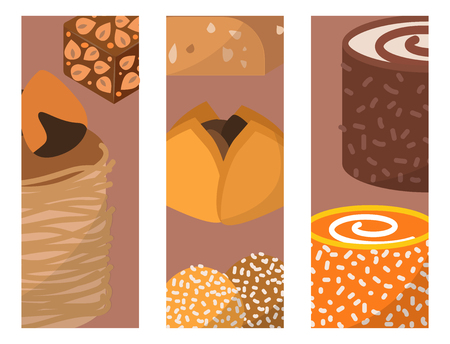 Sweets east delicious dessert food vector cards confectionery homemade assortment chocolate cake tasty bakery sweetness delights illustration Illustration