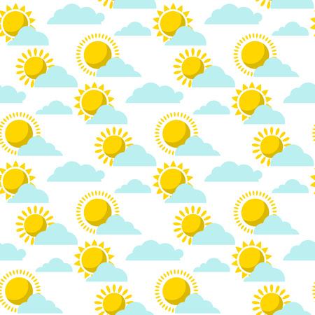 Clouds sun weather vector cloudy summer blue sky season design seamless pattern background illustration.