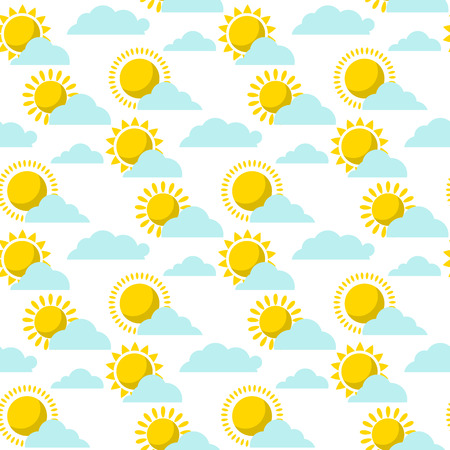 Clouds sun weather vector cloudy summer blue sky season design seamless pattern background illustration.