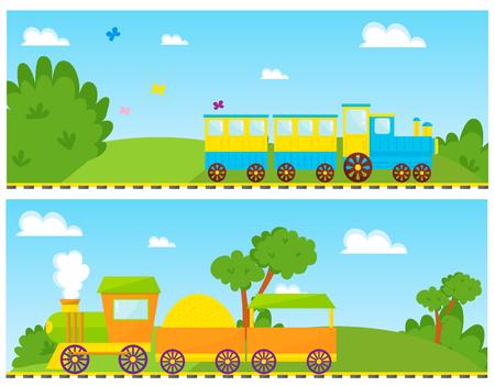 子供たちはカラフルな機関車でベクトル漫画のおもちゃを訓練鉄道車両ゲーム楽しいレジャー喜びギフト子供輸送イラスト。  イラスト・ベクター素材