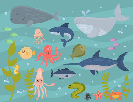 Sea animals vector creatures characters cartoon ocean wildlife marine underwater aquarium life water graphic aquatic tropical beasts illustration. Çizim