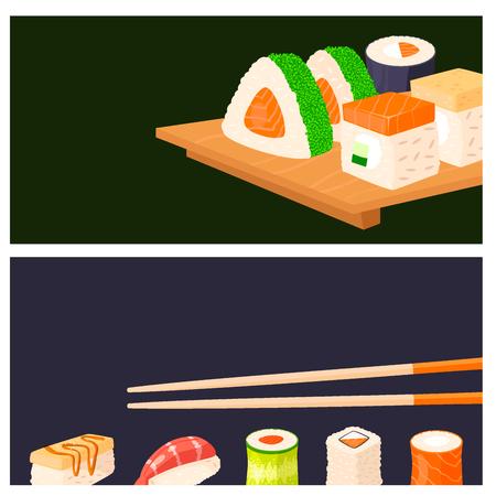 Sushi rolls vector food banner japanese gourmet seafood traditional seaweed fresh raw food vector illustration Stock Vector - 96128895