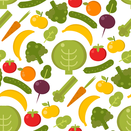 Vector vegetables healthy food seamless pattern illustration. Organic green broccoli, tomato, carrot food vegetables delicious cooking fresh sign background. Flat drawing eat kitchen design Illustration